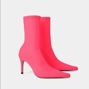 Zara fluorescent pink heeled ankle boots